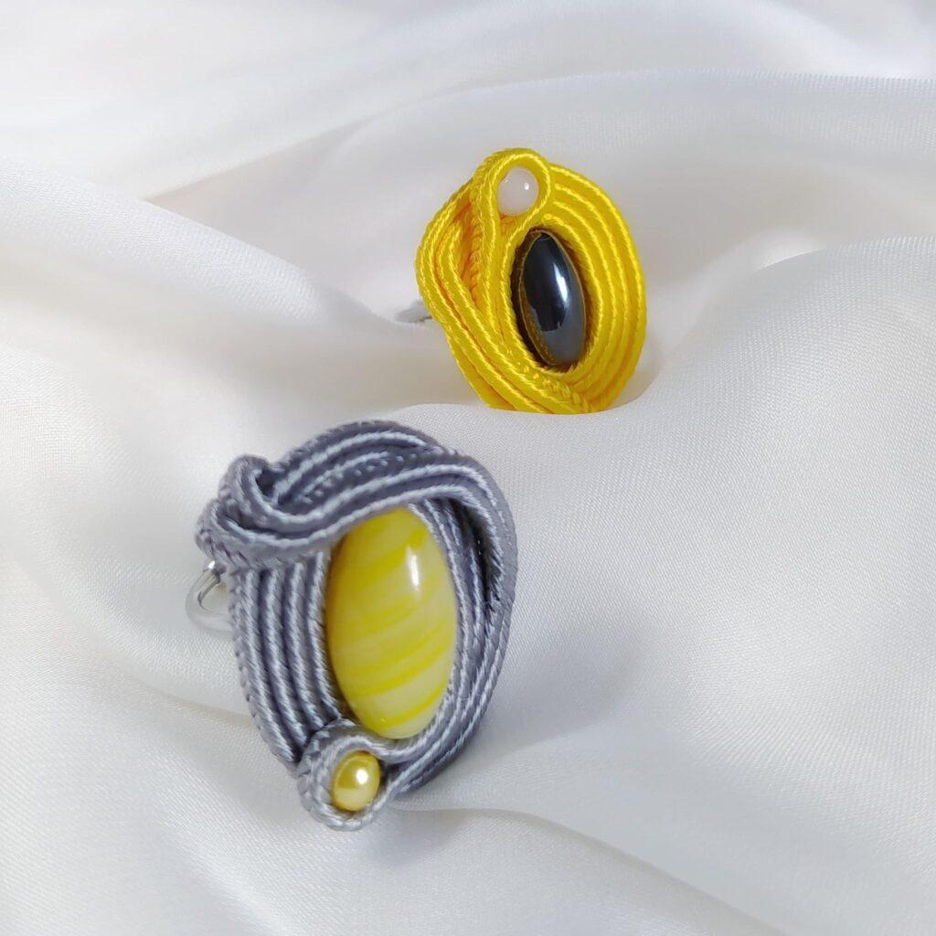 pierścionki soutache żółty i szary